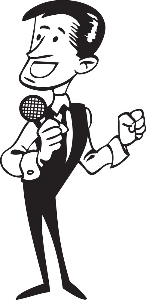 Illustration Of A Retro Man Singing In Mike.