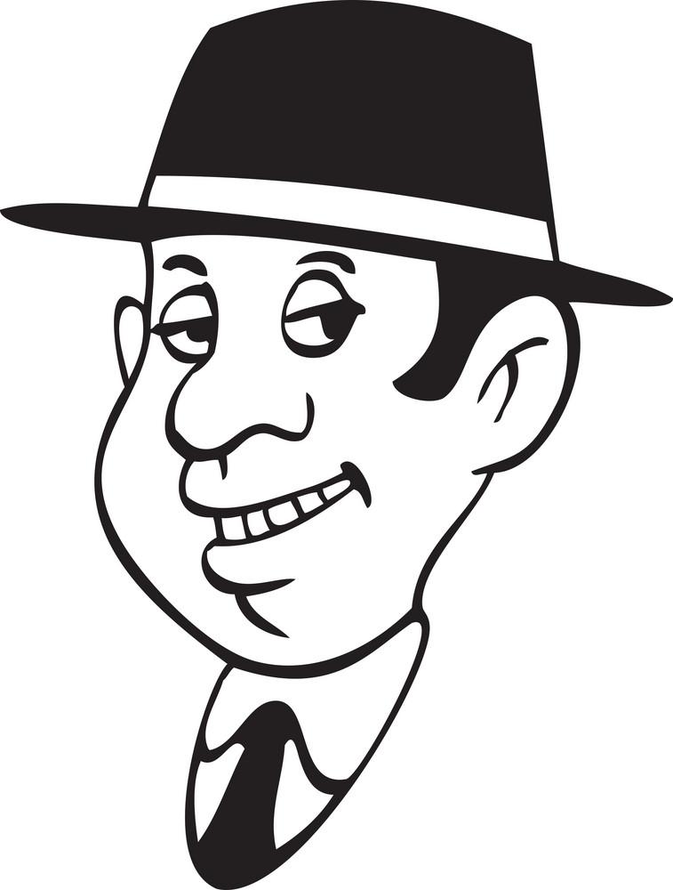 Illustration Of A Retro Man Face.