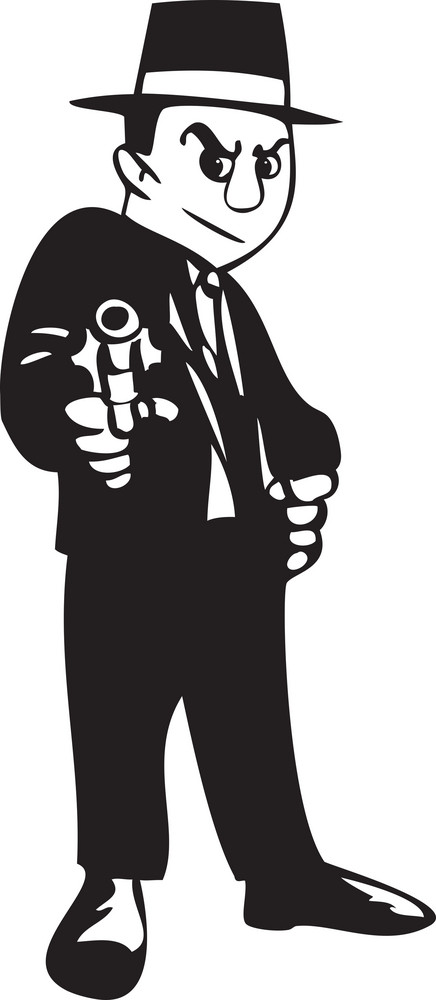 Illustration Of A Detective With Gun.