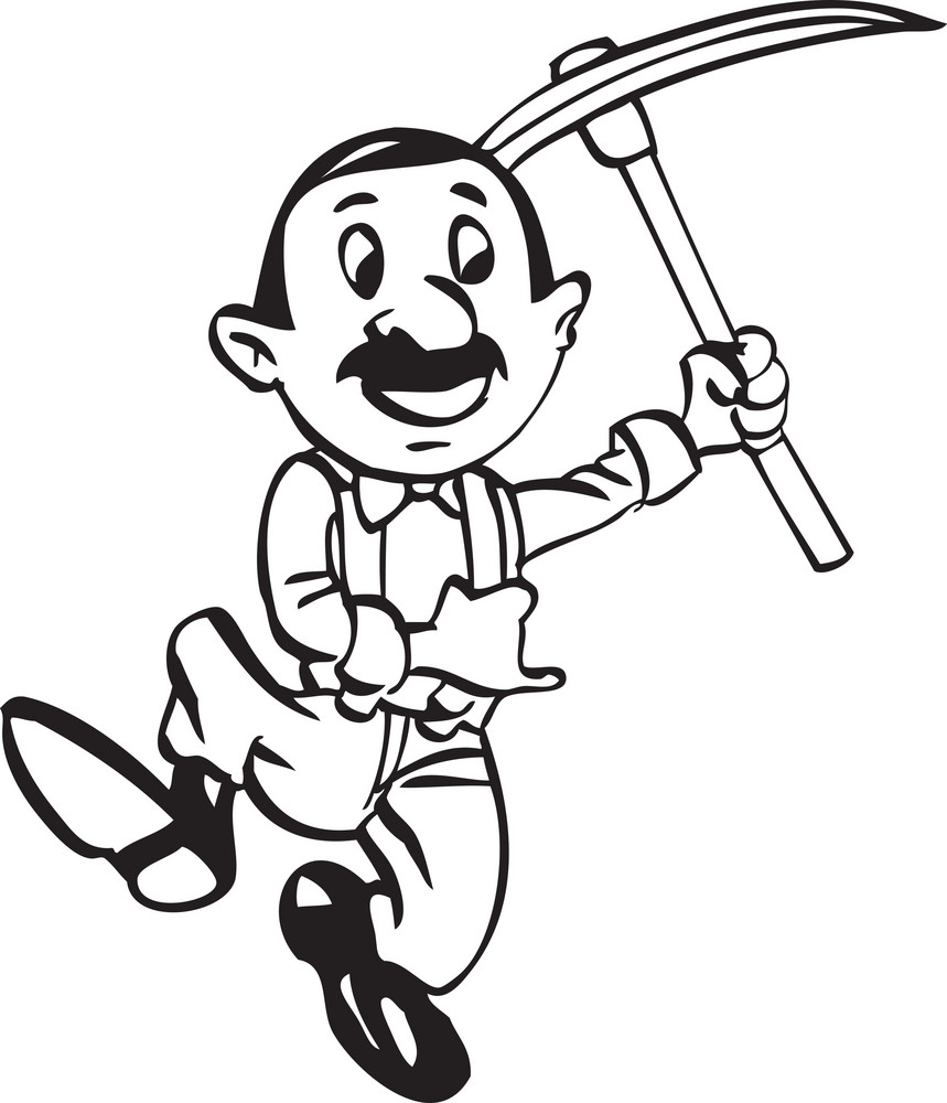 Illustration Of A Man With Pickaxe.