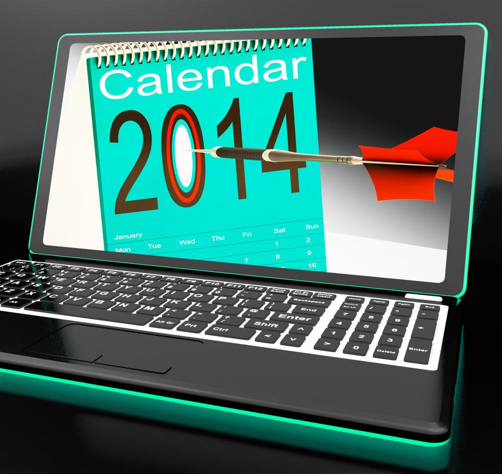 Calendar 2014 On Laptop Showing Future Plans