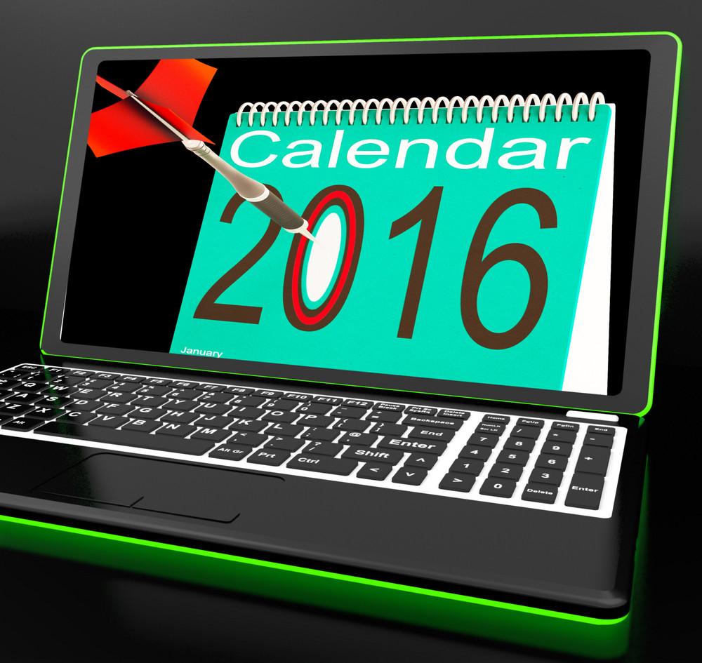 Calendar 2016 On Laptop Showing Future Websites