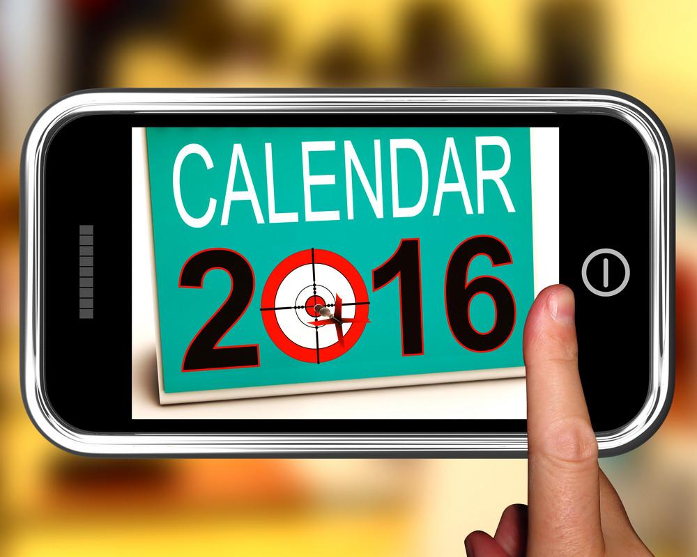 Calendar 2016 On Smartphone Shows Future Calendar