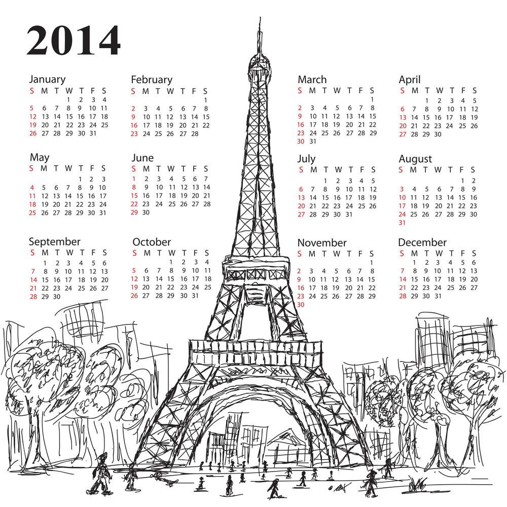 Calendar Eifel Tower 2014