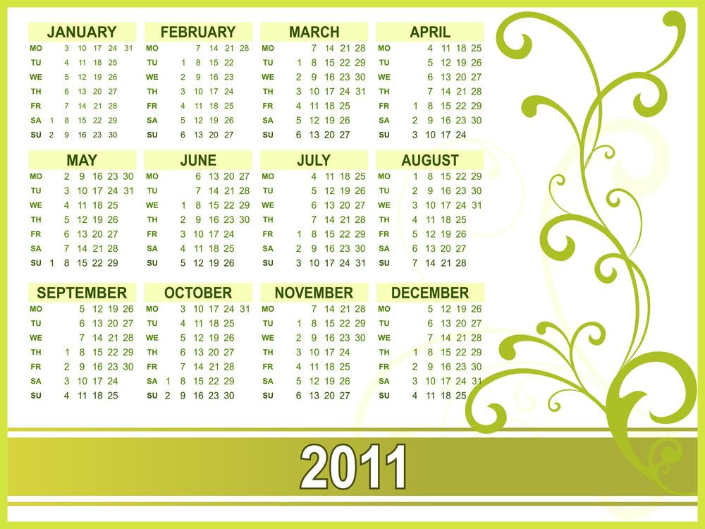 Calendar For New Year 2011