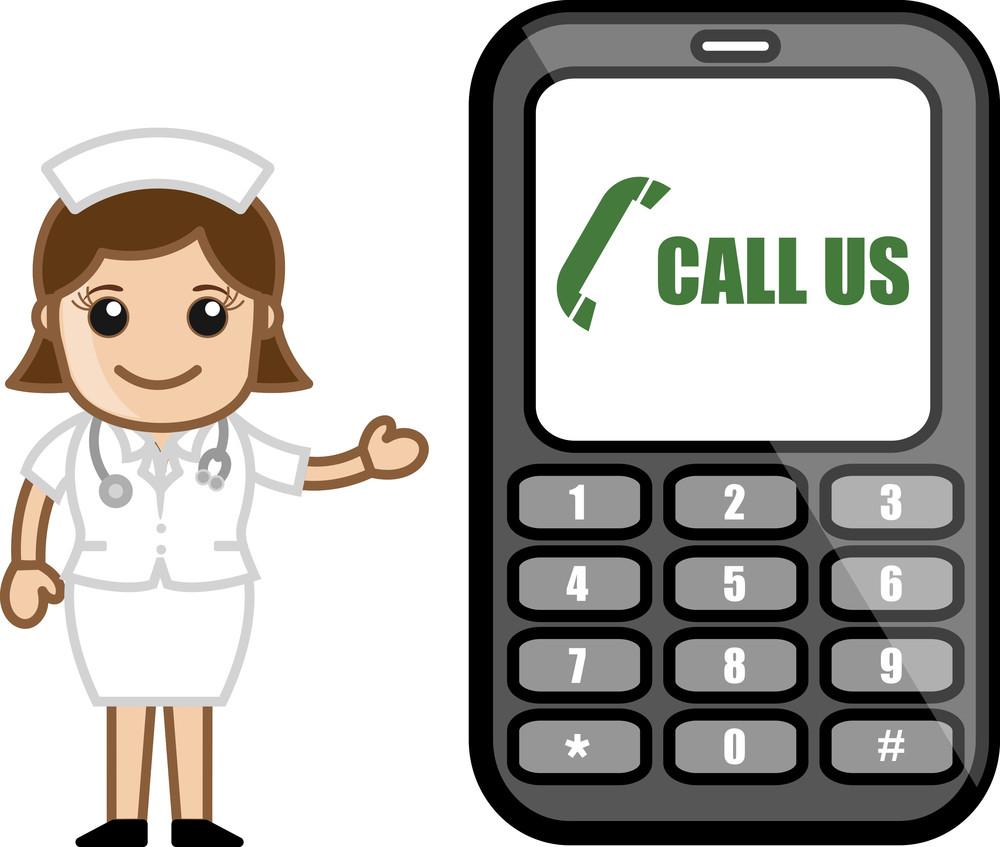 Call Us - Help Line Concept - Medical Cartoon Vector Character
