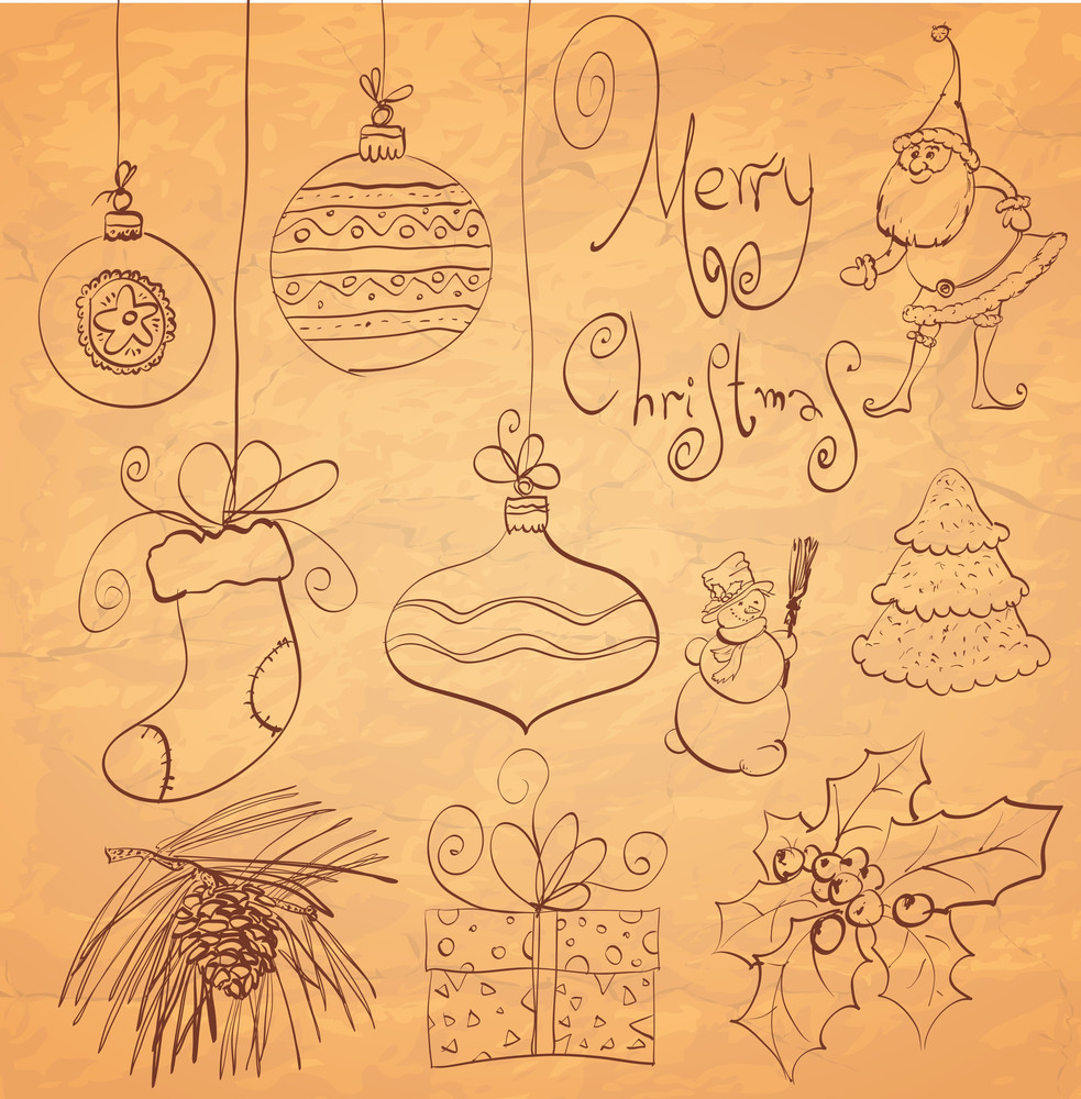 Calligraphy Sketched Christmas Design Elements Set. Vector.