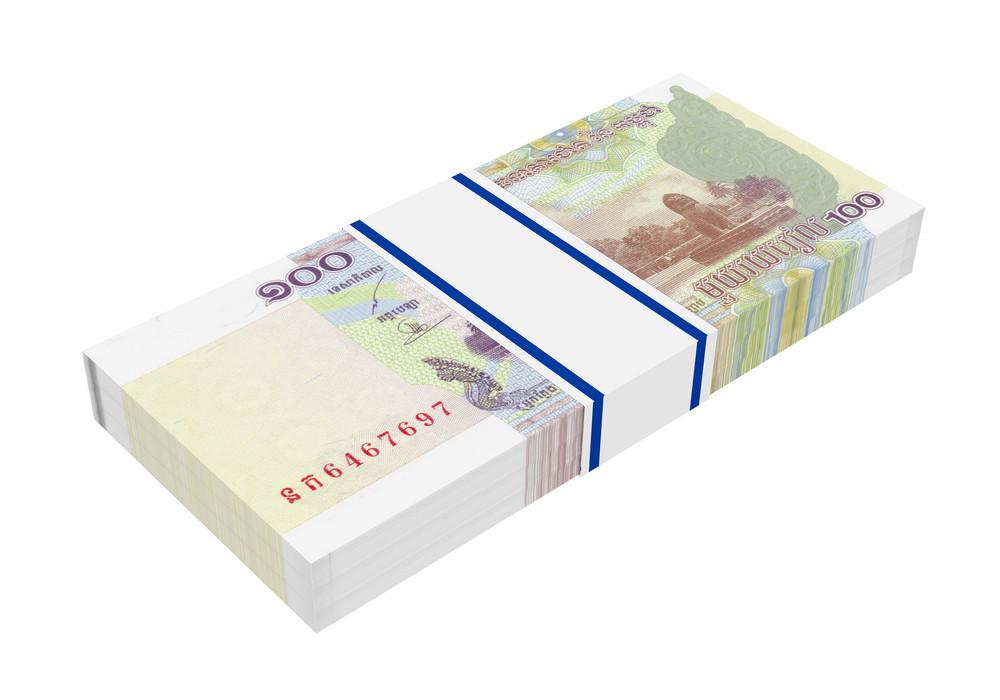 Cambodian Money Isolated On White Background.