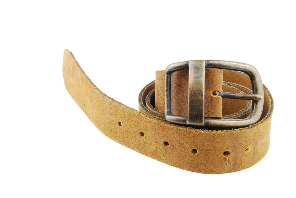 Camel/brown Leather Belt On White