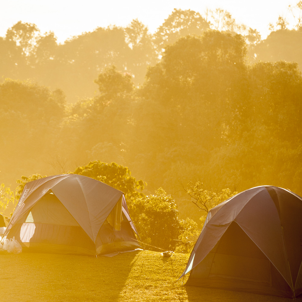 Camping tents on mountain morning