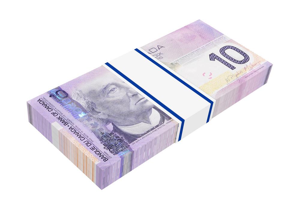 Canadian Money Isolated On White Background