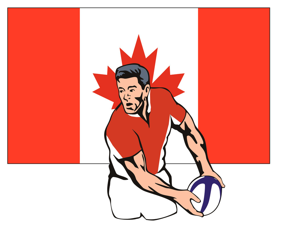 Canadian Rugby Player Passing Ball