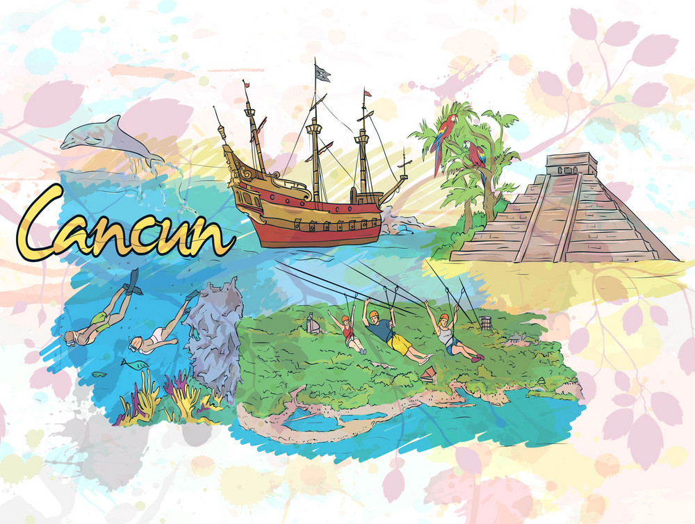 Cancun Doodles Vector Illustration