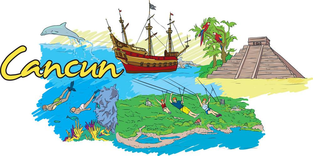 Cancun Vector Doodle