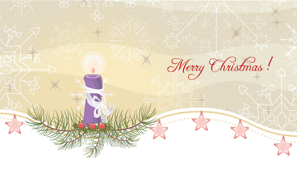 Candle With Snowflakes Vector Illustration