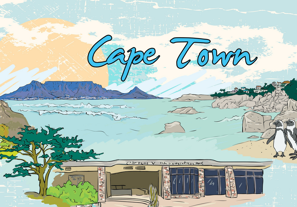 Cape Town Doodles Vector Illustration