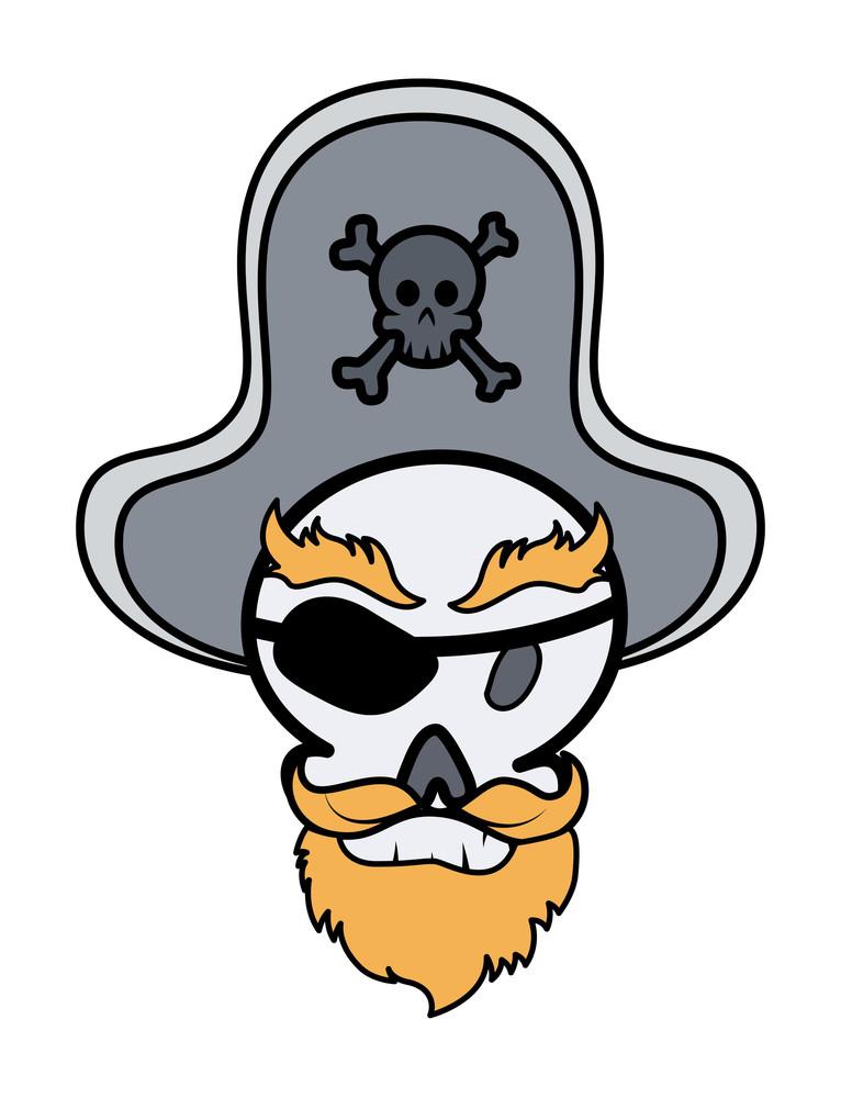 Captain Pirate Skull - Vector Cartoon Illustration