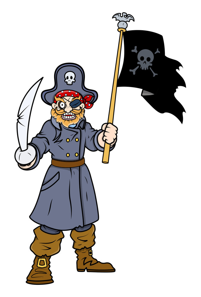 Captain Pirate With Flag