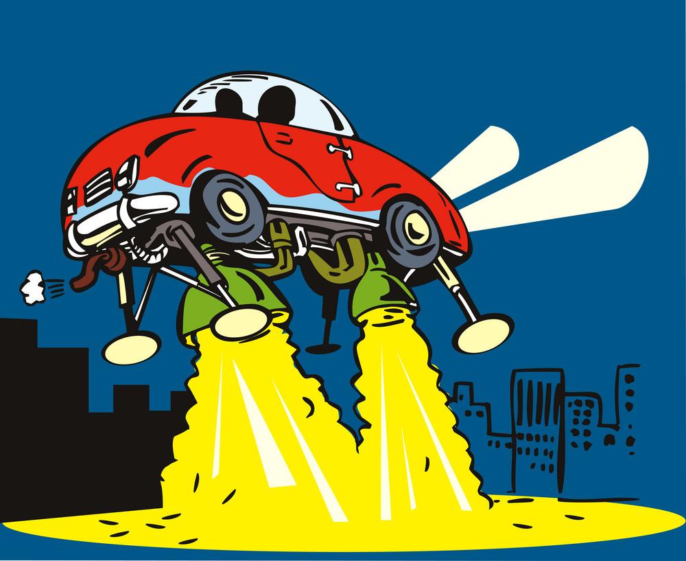 Car Spaceship Taking Off