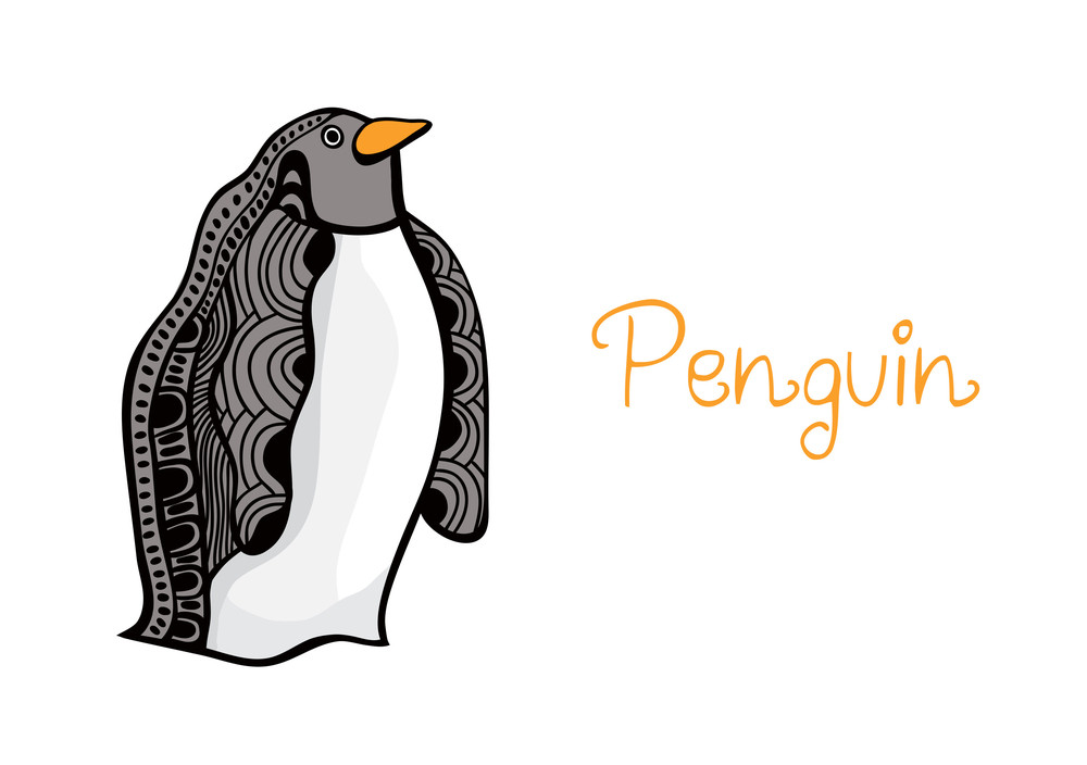 Card Illustration Of Penguin