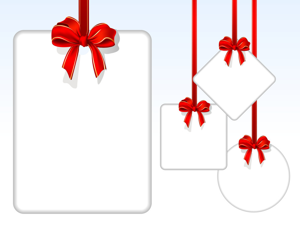Card Notes With Red Gift Bows With Ribbons. Vector.