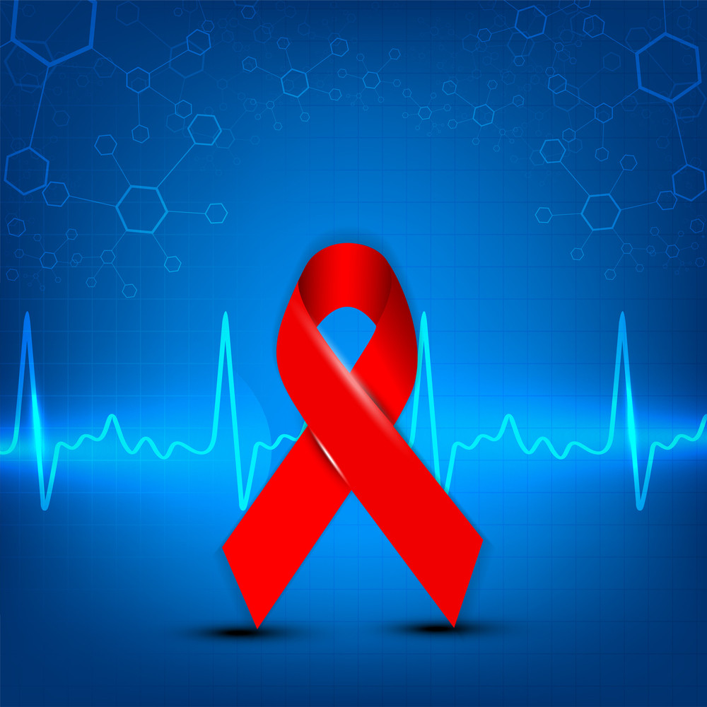 Cardiogram With Red Aids Awareness Ribbon On Red Background.