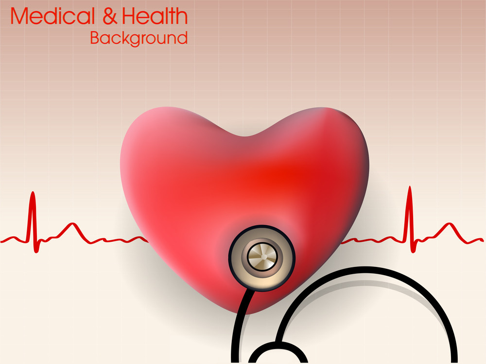 Cardiogram With Red Heart And Stethoscope.