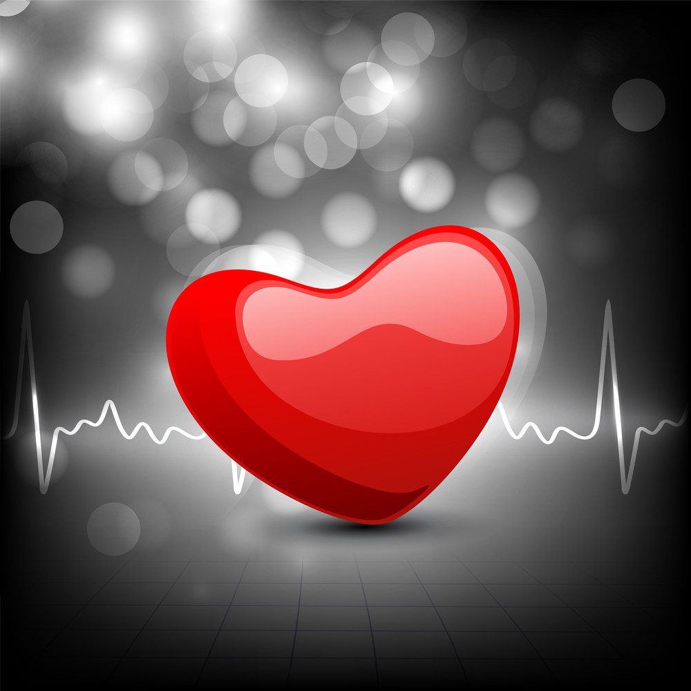 Cardiogram With Red Heart Shape On Grey Background.