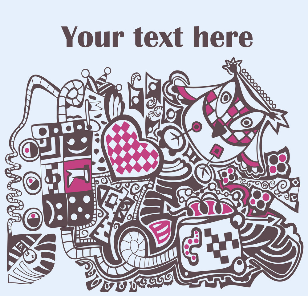 Cartoon Abstract Pattern With Place For Your Text. Design.
