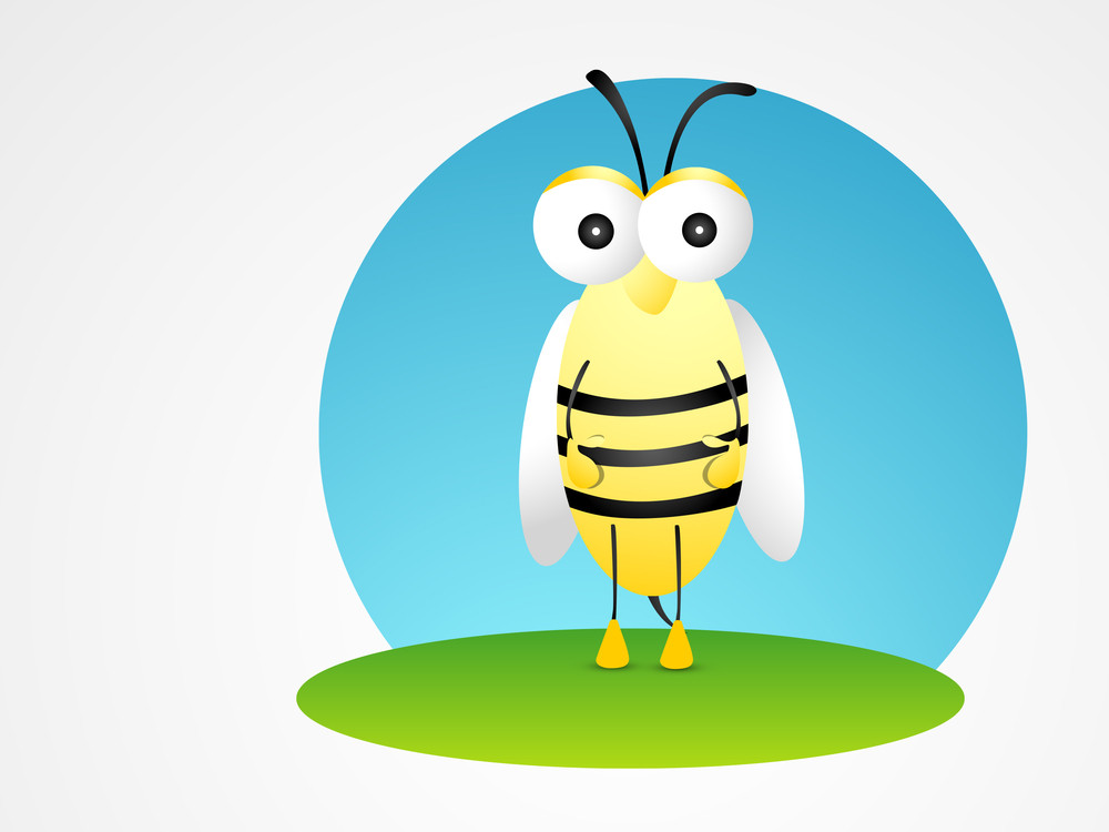 Cartoon Animal Character With Honey Bee.