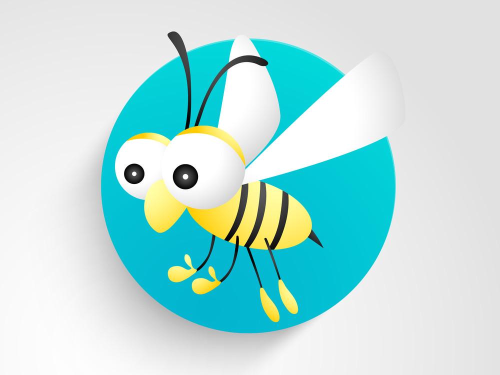 Cartoon Animal Character With Honey Bee.