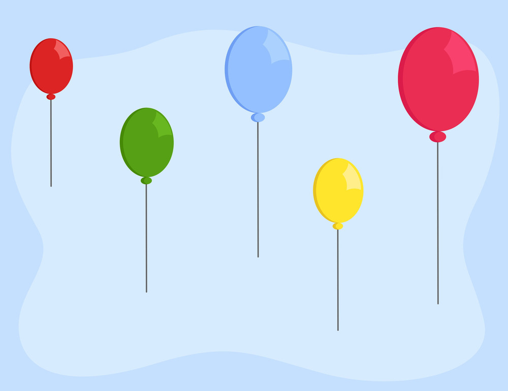 Cartoon Background - Balloons Floating In Sky