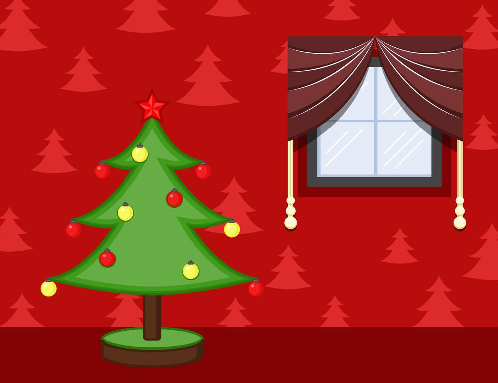 Cartoon Background - Christmas Celebration Room - Decorative Tree