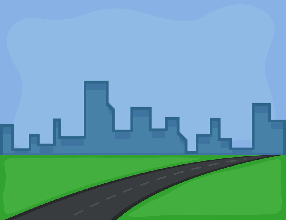 Cartoon Background - Road And City