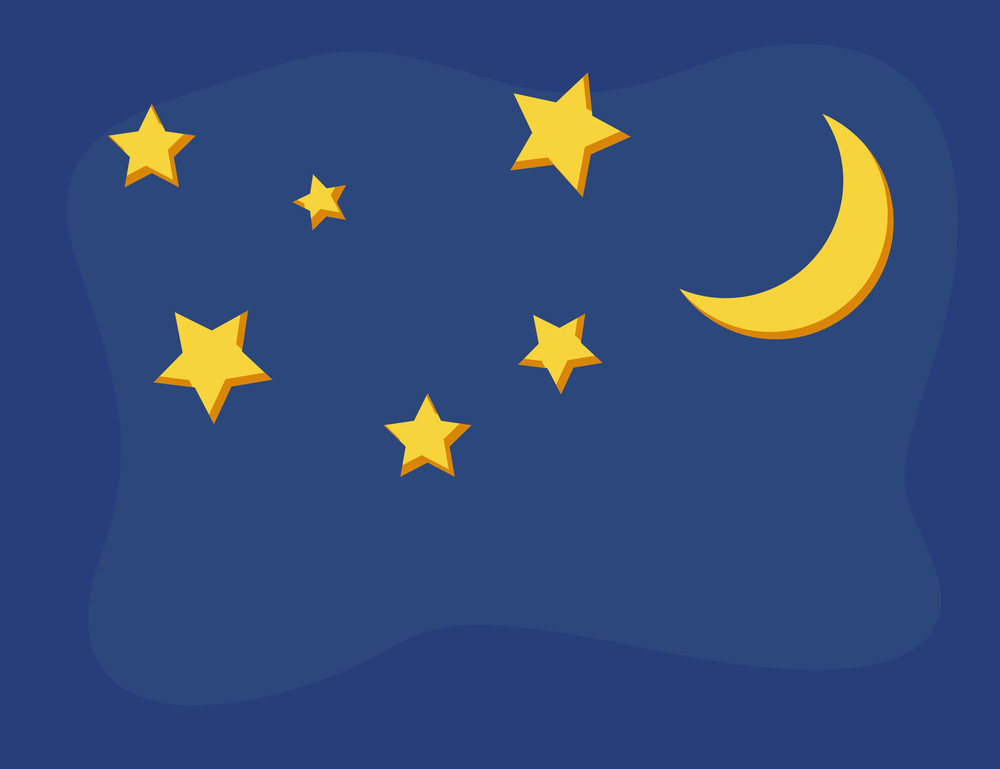 Cartoon Background - Starry Night And Moon