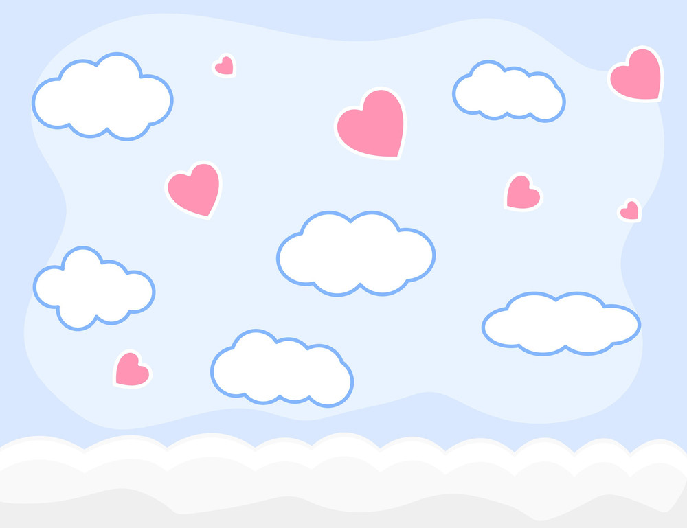 Cartoon Background - Valentine Clouds And Sky