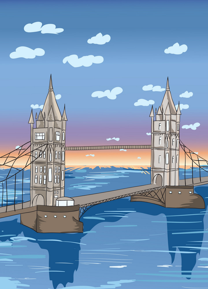 Cartoon Background With Bridge Vector Illustration