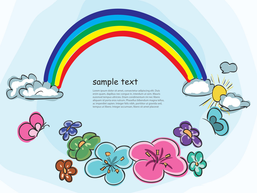 Cartoon Background With Rainbow Vector Illustration