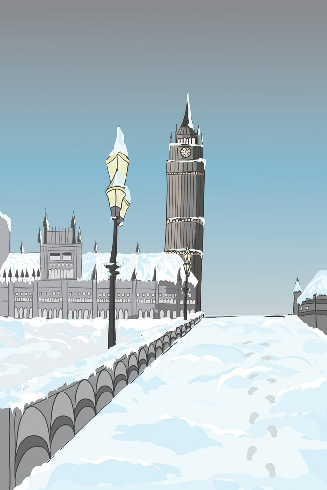 Cartoon Background With Tower Vector Illustration
