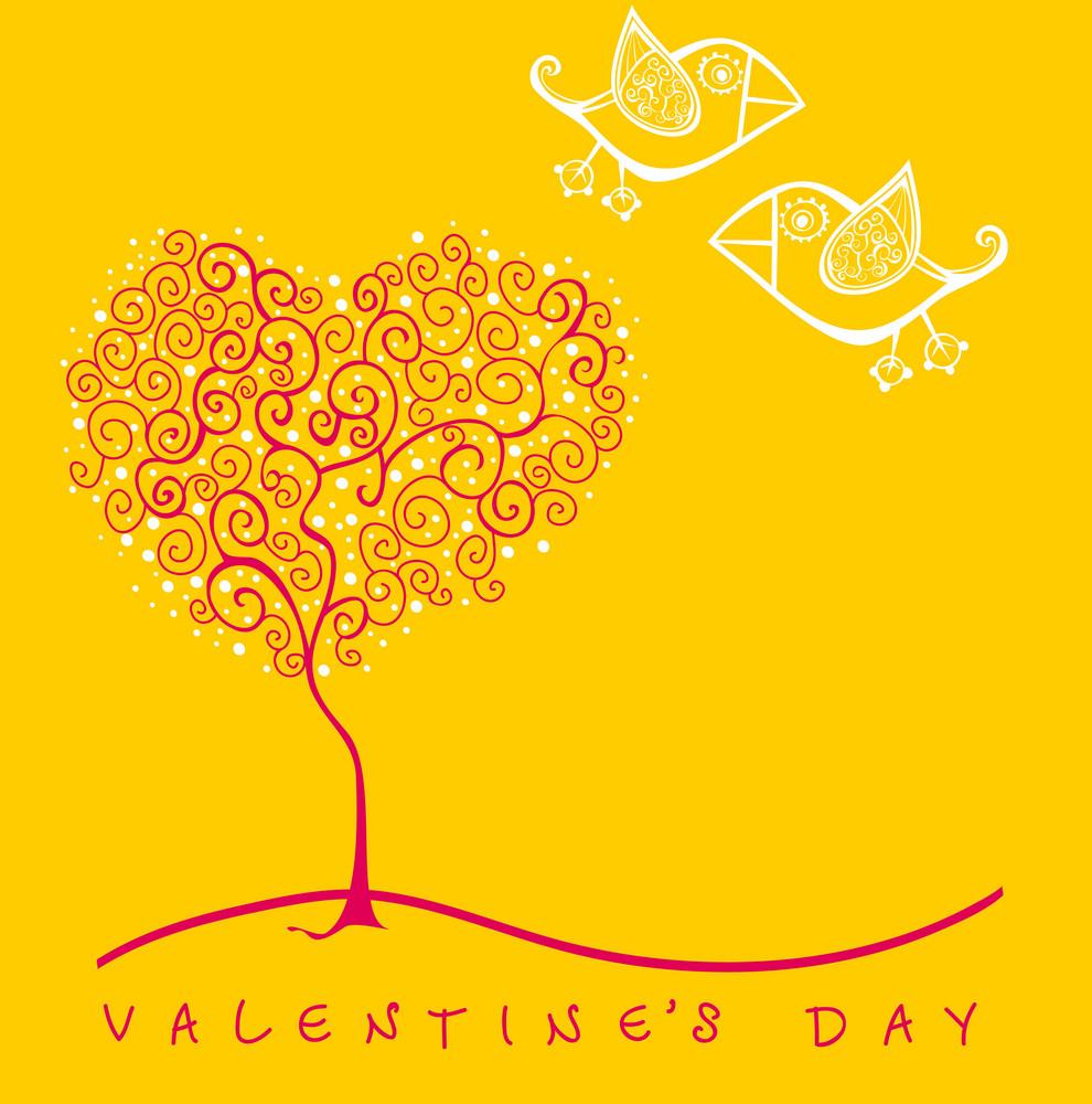 Cartoon Birds Above Romantic Flowers Holding Heart