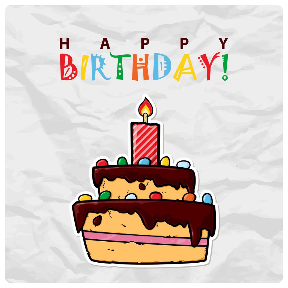 Cartoon Birthday Cake Card. Vector Illustration