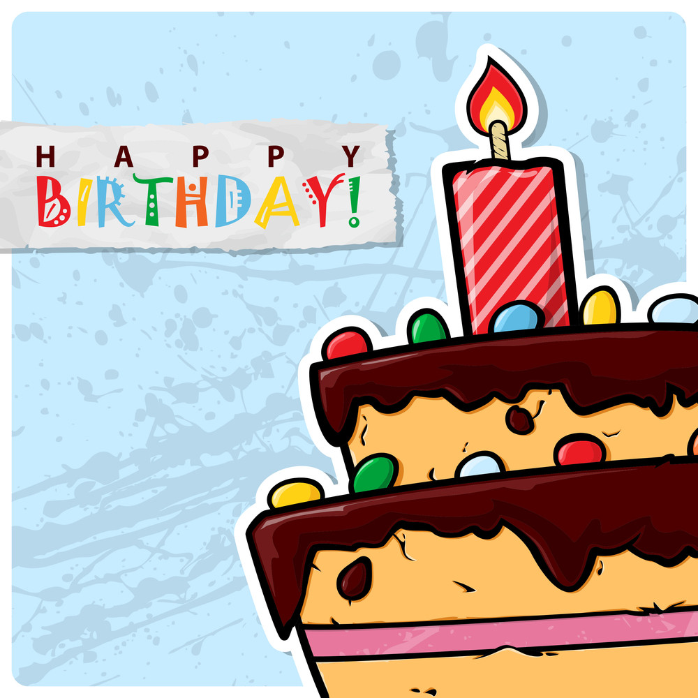 Cartoon Birthday Cake Card. Vector Illustration