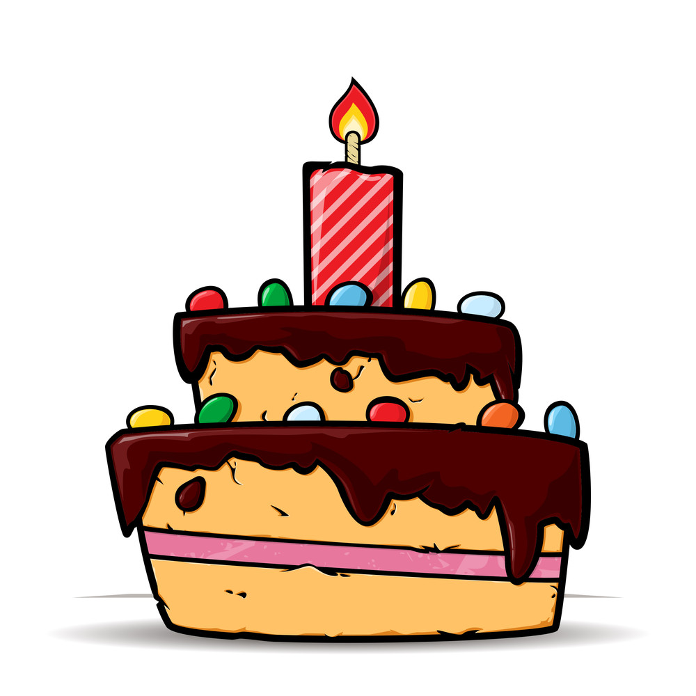 Cartoon Birthday Cake Card Vector Illustration