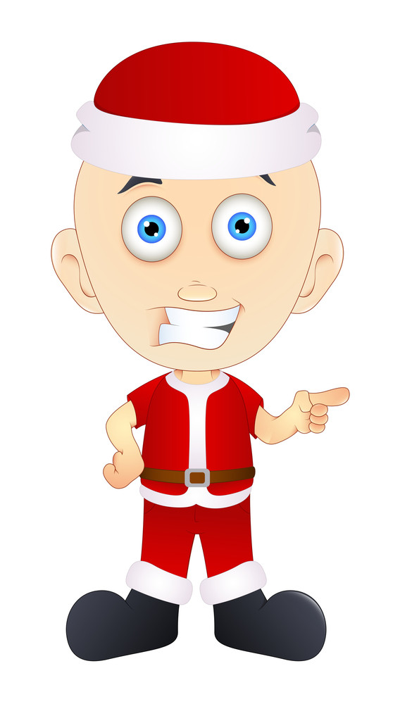 Cartoon Boy In Santa Dress