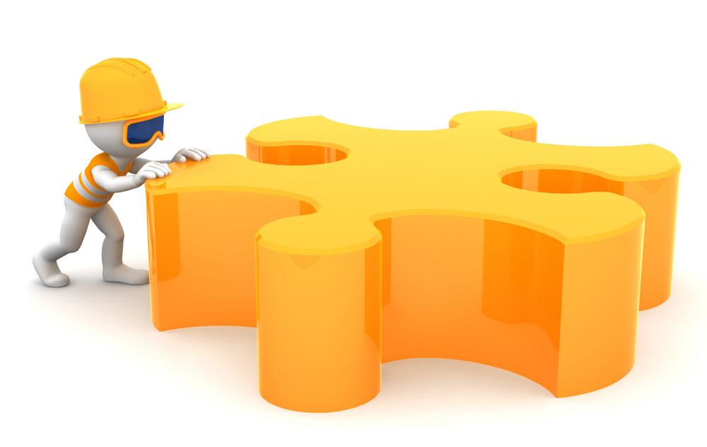Cartoon Builder Moving Piece Of A Puzzle. Constuction Concept