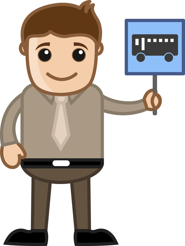 Cartoon Business Character - Man Showing Bus Sign