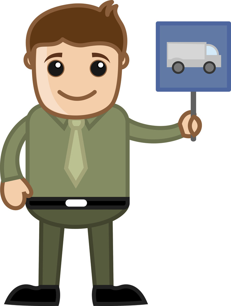 Cartoon Business Character - Man Showing Truck And Vehicle Sign