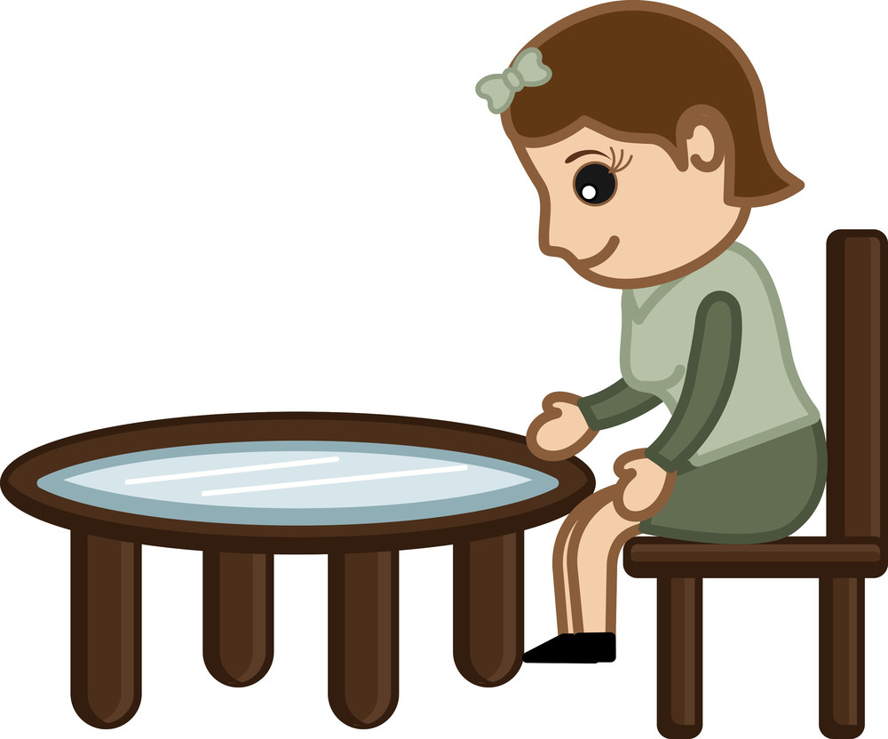 Cartoon Character - Female Sitting On Chair
