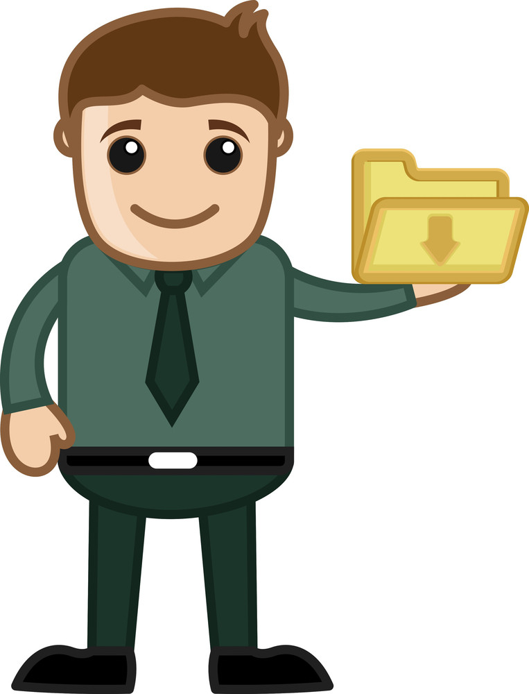 Cartoon Character Man Holding Download Folder Icon