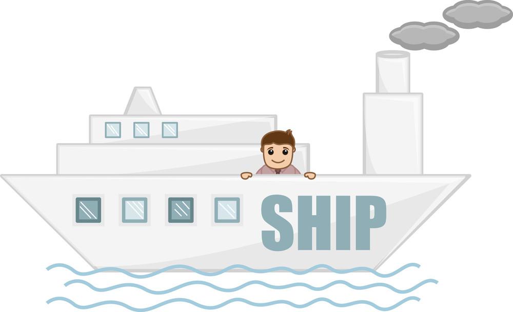 Cartoon Character - Man On Ship